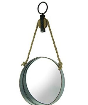 Zeckos Farmhouse Rustic Round Metal Barrel Ring On Rope Pulley Decorative Wall Mirror 0 300x360