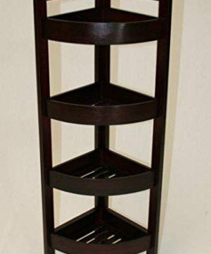 EHemco 4 Tier Bamboo Corner Shelf In Espresso 0 300x360