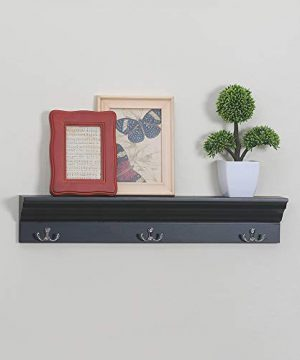 Love Furniture Entryway Shelf With 3 Hooks Wooden Coat Rack Floating Wall Mounted Shelf Black 0 0 300x360
