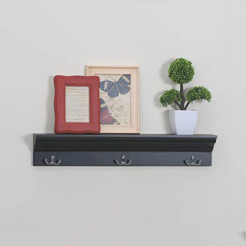 Love Furniture Entryway Shelf With 3 Hooks Wooden Coat Rack Floating Wall Mounted Shelf Black 0 0