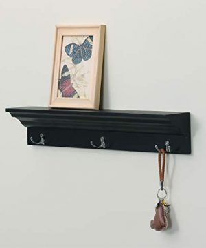Love Furniture Entryway Shelf With 3 Hooks Wooden Coat Rack Floating Wall Mounted Shelf Black 0 1 300x360