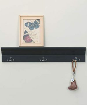 Love Furniture Entryway Shelf With 3 Hooks Wooden Coat Rack Floating Wall Mounted Shelf Black 0 3 300x360