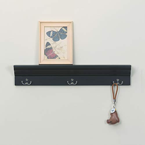Love Furniture Entryway Shelf With 3 Hooks Wooden Coat Rack Floating Wall Mounted Shelf Black 0 3