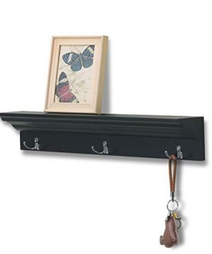 Love Furniture Entryway Shelf With 3 Hooks Wooden Coat Rack Floating Wall Mounted Shelf Black 0 300x360