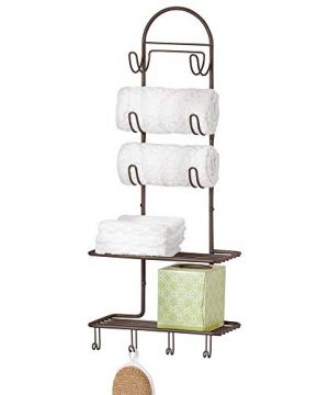 MDesign Metal Wire Farmhouse Wall Decor Storage Organizer With 2 Shelves And 10 Hooks For Bathroom Organization To Hold Face And Hand Towels Tissue Soap Lotion Robes Wall Mount Bronze 0 300x360