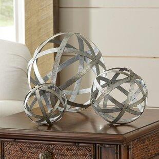 3PieceGalvanizedSphereSilverSculptureSet