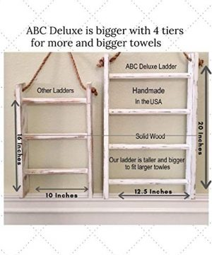 4 Tier Rope Ladder Decorative Ladder Towel Blanket Quilt Shelf Rustic Farmhouse Decor Wood Handmade In The USA Wall Hanging Ladder Rack Towel Holder For Kitchen Or Bathroom Vintage Shabby Chic 0 1 300x360