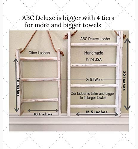 4 Tier Rope Ladder Decorative Ladder Towel Blanket Quilt Shelf Rustic Farmhouse Decor Wood Handmade In The USA Wall Hanging Ladder Rack Towel Holder For Kitchen Or Bathroom Vintage Shabby Chic 0 1