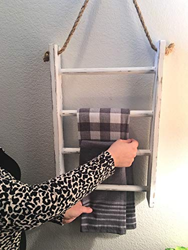 4 Tier Rope Ladder Decorative Ladder Towel Blanket Quilt Shelf Rustic Farmhouse Decor Wood Handmade In The USA Wall Hanging Ladder Rack Towel Holder For Kitchen Or Bathroom Vintage Shabby Chic 0 2