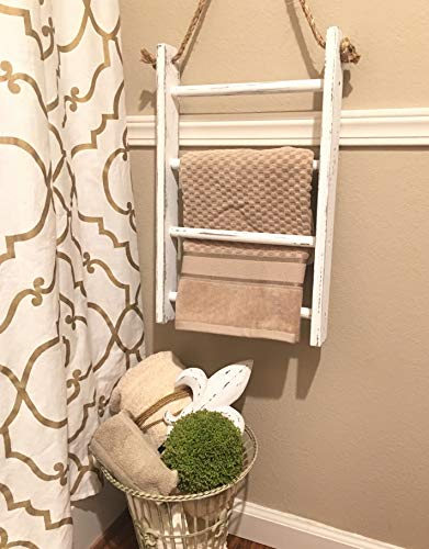 4 Tier Rope Ladder Decorative Ladder Towel Blanket Quilt Shelf Rustic Farmhouse Decor Wood Handmade In The USA Wall Hanging Ladder Rack Towel Holder For Kitchen Or Bathroom Vintage Shabby Chic 0 3