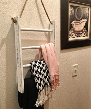 4 Tier Rope Ladder Decorative Ladder Towel Blanket Quilt Shelf Rustic Farmhouse Decor Wood Handmade In The USA Wall Hanging Ladder Rack Towel Holder For Kitchen Or Bathroom Vintage Shabby Chic 0 4 300x360