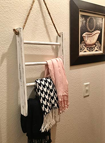 4 Tier Rope Ladder Decorative Ladder Towel Blanket Quilt Shelf Rustic Farmhouse Decor Wood Handmade In The USA Wall Hanging Ladder Rack Towel Holder For Kitchen Or Bathroom Vintage Shabby Chic 0 4