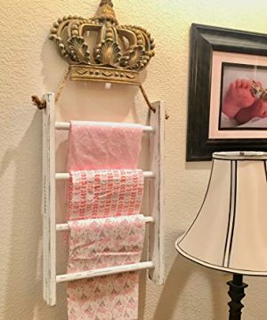 4 Tier Rope Ladder Decorative Ladder Towel Blanket Quilt Shelf Rustic Farmhouse Decor Wood Handmade In The USA Wall Hanging Ladder Rack Towel Holder For Kitchen Or Bathroom Vintage Shabby Chic 0 5 300x360