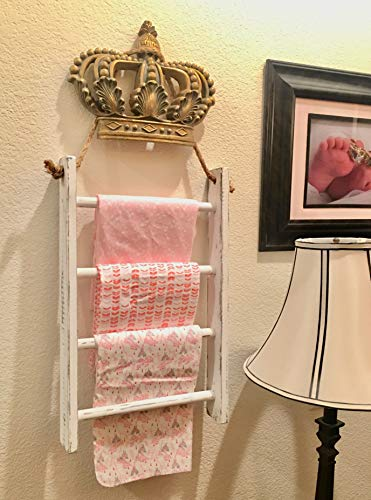 4 Tier Rope Ladder Decorative Ladder Towel Blanket Quilt Shelf Rustic Farmhouse Decor Wood Handmade In The USA Wall Hanging Ladder Rack Towel Holder For Kitchen Or Bathroom Vintage Shabby Chic 0 5