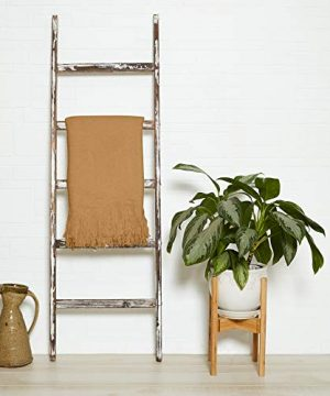 5 Ft Rustic Farmhouse Blanket Ladder Decorative Wooden Display Wall Leaning Wood Farm Decor Rack For Throw Towel Quilt Blankets Holder Display Shelf Old Antique White Wall Ladders House Decorati 0 300x360