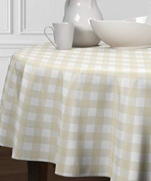 A LuxeHome Beige And White Buffalo Plaid Farmhouse Check Tablecloths Dining Room Kitchen Round 90 0 300x360