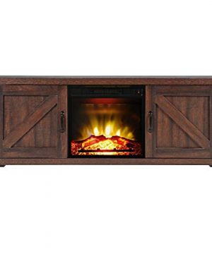 AA SS Television Stands 58 Inch Barn Door Wood Corner Fireplace Television Stands For TVs Up To 65 Inch Living Room Storage Stand Console Brown 0 300x360