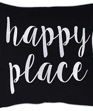 ADecor Happy Place Embroidered Quote Black Decorative Pillow For Home Living Room Entryway Bedroom Farmhouse 18X18 Happy PlaceBlack 0 300x360
