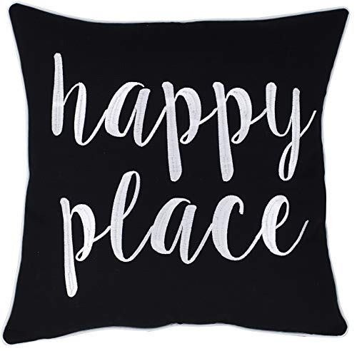 ADecor Happy Place Embroidered Quote Black Decorative Pillow For Home Living Room Entryway Bedroom Farmhouse 18X18 Happy PlaceBlack 0