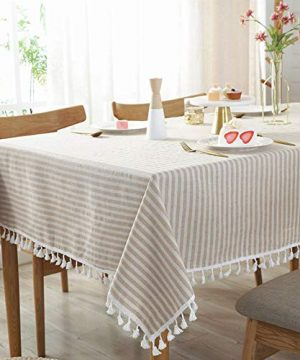 AMZALI Stripe Tassel Tablecloth Cotton Linen Table Cloth Stain Resistant Dust Proof Table Cover For Kitchen Dinning Tabletop Home Decoration RectangleOblong35 X 55 Inch Beige 0 300x360