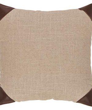 Amazon Brand Stone Beam Classic Leather Trim Throw Pillow 17 X 17 Inch Flax Chocolate 0 300x360