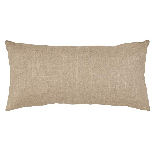 Amazon Brand Stone Beam Industrial Leather Detail Throw Pillow 24 X 12 Inch Flax With Dark Brown 0 0