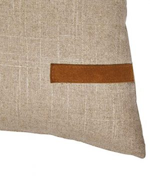 Amazon Brand Stone Beam Industrial Leather Detail Throw Pillow 24 X 12 Inch Flax With Dark Brown 0 1 300x360