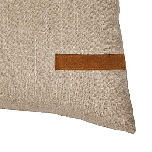 Amazon Brand Stone Beam Industrial Leather Detail Throw Pillow 24 X 12 Inch Flax With Dark Brown 0 1