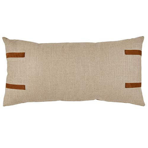 Amazon Brand Stone Beam Industrial Leather Detail Throw Pillow 24 X 12 Inch Flax With Dark Brown 0