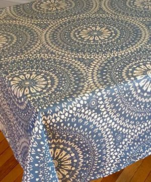 Amelie Michel Wipe Clean French Tablecloth In Arabik Blue Authentic French Acrylic Coated 100 Cotton Fabric Easy Care Spill Proof 60 X 144 Rectangle 0 300x360