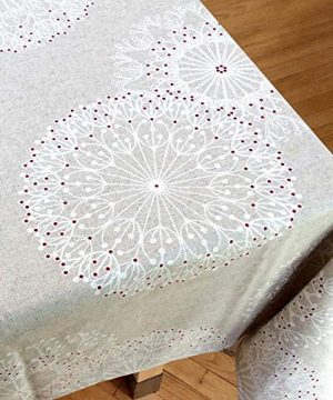 Amelie Michel Wipe Clean French Tablecloth In Cleome Natural Authentic French Acrylic Coated 100 Cotton Fabric Easy Care Spill Proof 60 X 144 Rectangle 0 0 300x360