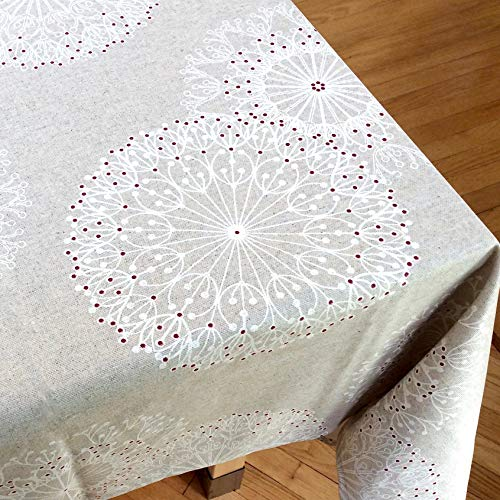 Amelie Michel Wipe Clean French Tablecloth In Cleome Natural Authentic French Acrylic Coated 100 Cotton Fabric Easy Care Spill Proof 60 X 144 Rectangle 0 0