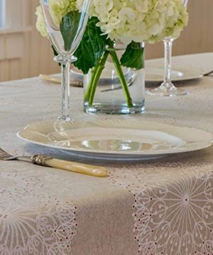 Amelie Michel Wipe Clean French Tablecloth In Cleome Natural Authentic French Acrylic Coated 100 Cotton Fabric Easy Care Spill Proof 60 X 144 Rectangle 0 1 300x360