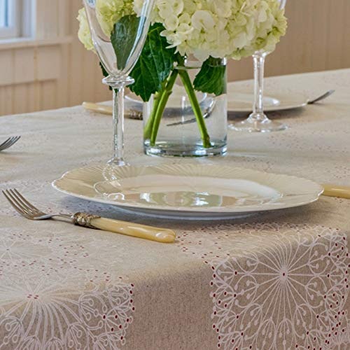 Amelie Michel Wipe Clean French Tablecloth In Cleome Natural Authentic French Acrylic Coated 100 Cotton Fabric Easy Care Spill Proof 60 X 144 Rectangle 0 1