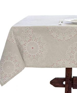 Amelie Michel Wipe Clean French Tablecloth In Cleome Natural Authentic French Acrylic Coated 100 Cotton Fabric Easy Care Spill Proof 60 X 144 Rectangle 0 300x360
