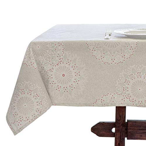 Amelie Michel Wipe Clean French Tablecloth In Cleome Natural Authentic French Acrylic Coated 100 Cotton Fabric Easy Care Spill Proof 60 X 144 Rectangle 0