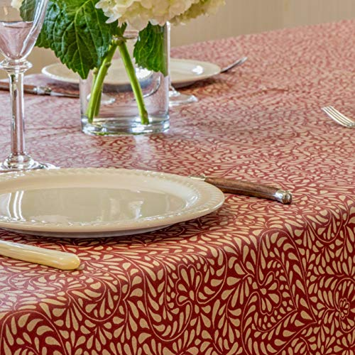 Amelie Michel Wipe Clean French Tablecloth In Courmayeur Red Authentic French Acrylic Coated 100 Cotton Fabric Easy Care Spill Proof 60 X 144 Rectangle 0 1