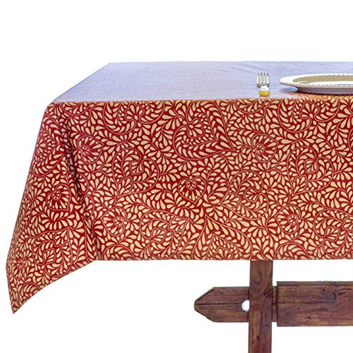 Amelie Michel Wipe Clean French Tablecloth In Courmayeur Red Authentic French Acrylic Coated 100 Cotton Fabric Easy Care Spill Proof 60 X 144 Rectangle 0