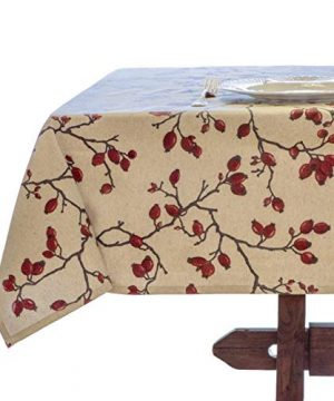 Amelie Michel Wipe Clean French Tablecloth In Eglantier Branch Natural Authentic French Acrylic Coated 100 Cotton Fabric Easy Care 60 X 144 Rectangle 0 300x360
