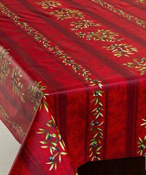 Amelie Michel Wipe Clean French Tablecloth In Red Olives Authentic French Acrylic Coated 100 Cotton Fabric Easy Care Spill Proof 60 X 120 Rectangle 0 0 300x360