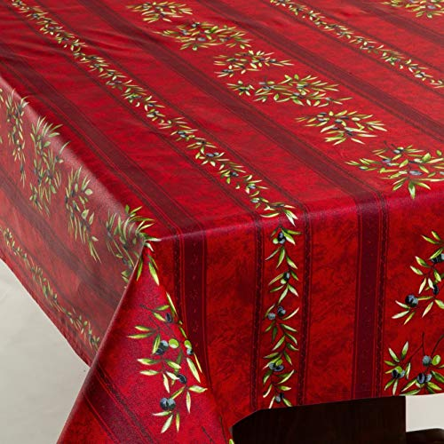 Amelie Michel Wipe Clean French Tablecloth In Red Olives Authentic French Acrylic Coated 100 Cotton Fabric Easy Care Spill Proof 60 X 120 Rectangle 0 0