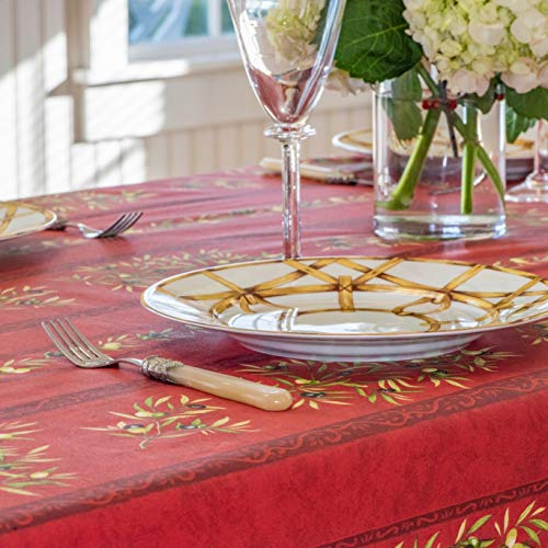 Amelie Michel Wipe Clean French Tablecloth In Red Olives Authentic French Acrylic Coated 100 Cotton Fabric Easy Care Spill Proof 60 X 120 Rectangle 0 1