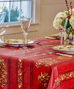 Amelie Michel Wipe Clean French Tablecloth In Red Olives Authentic French Acrylic Coated 100 Cotton Fabric Easy Care Spill Proof 60 X 120 Rectangle 0 2 300x360
