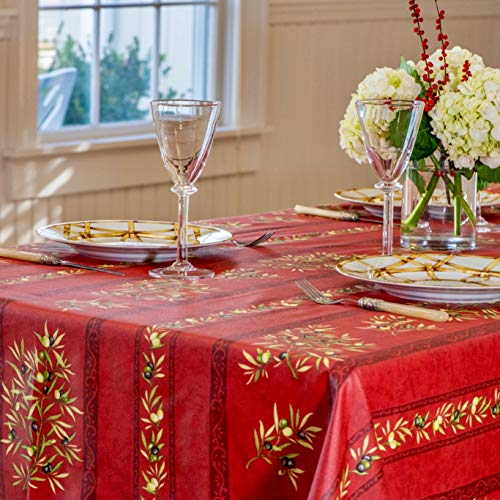 Amelie Michel Wipe Clean French Tablecloth In Red Olives Authentic French Acrylic Coated 100 Cotton Fabric Easy Care Spill Proof 60 X 120 Rectangle 0 2