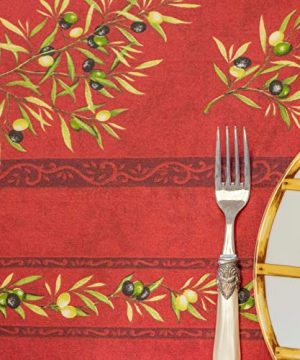 Amelie Michel Wipe Clean French Tablecloth In Red Olives Authentic French Acrylic Coated 100 Cotton Fabric Easy Care Spill Proof 60 X 120 Rectangle 0 3 300x360