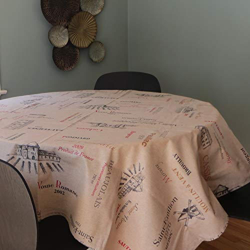 Amelie Michel Wipe Clean French Tablecloth In Wines Natural Authentic French Acrylic Coated 100 Cotton Fabric Easy Care Spill Proof 60 X 120 Rectangle 0 0