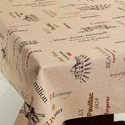 Amelie Michel Wipe Clean French Tablecloth In Wines Natural Authentic French Acrylic Coated 100 Cotton Fabric Easy Care Spill Proof 60 X 120 Rectangle 0
