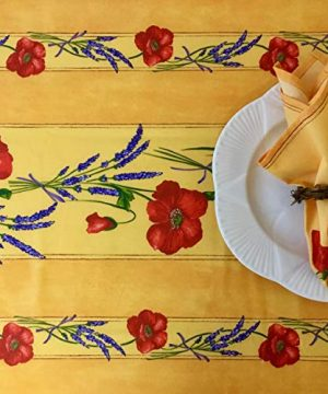 Amelie Michel Wipe Clean French Tablecloth In Yellow Poppies Authentic French Acrylic Coated 100 Cotton Fabric Easy Care Spill Proof 60 X 144 Rectangle 0 0 300x360