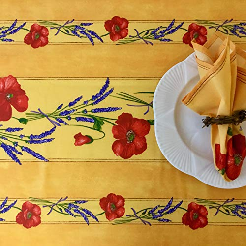 Amelie Michel Wipe Clean French Tablecloth In Yellow Poppies Authentic French Acrylic Coated 100 Cotton Fabric Easy Care Spill Proof 60 X 144 Rectangle 0 0
