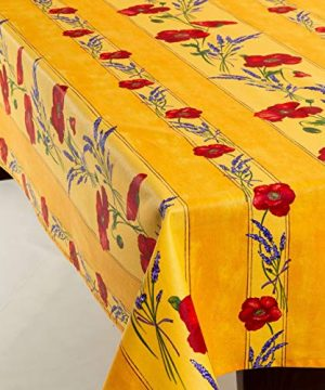 Amelie Michel Wipe Clean French Tablecloth In Yellow Poppies Authentic French Acrylic Coated 100 Cotton Fabric Easy Care Spill Proof 60 X 144 Rectangle 0 300x360